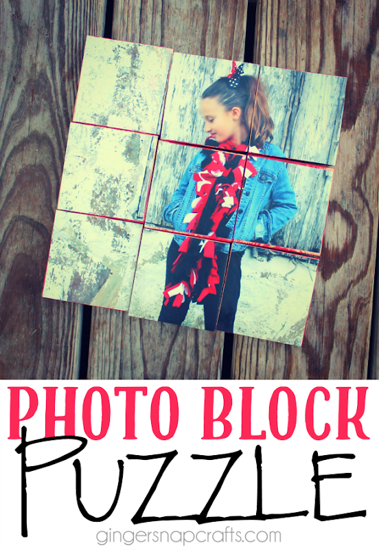 Photo Block Puzzle at GingerSnapCrafts.com #decoartprojects #ad