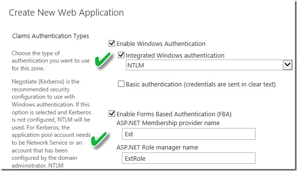 Configure Forms-based Authentication on SharePoint Extranet Web Application