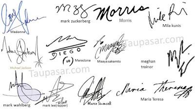 tanda tangan huruf M