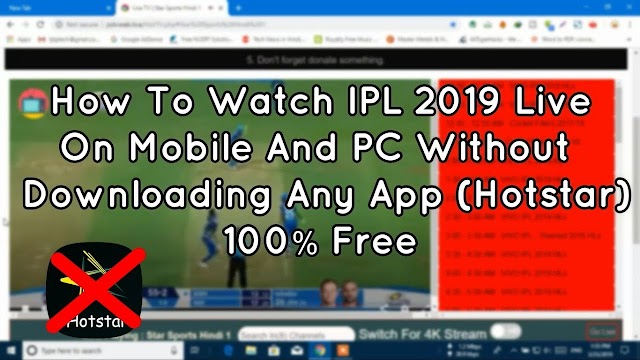 Watch IPL 2019 Live Without Any Apps