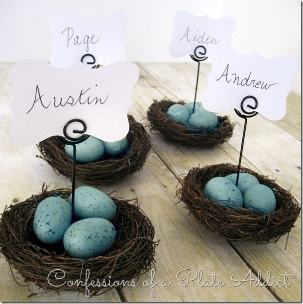 CONFESSIONS OF A PLATE ADDICT Pottery Barn Inspired Nest Place – Easter Place Card Holders