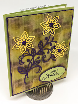 Linda Vich Creates: Flourishing Thinlits Note. Inked embossed brick background showcases the Flourishing Thinlits dies.