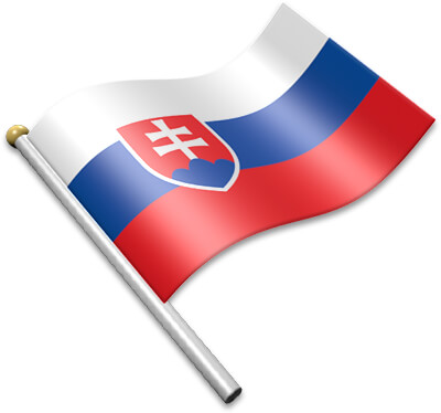 The Slovak flag on a flagpole clipart image