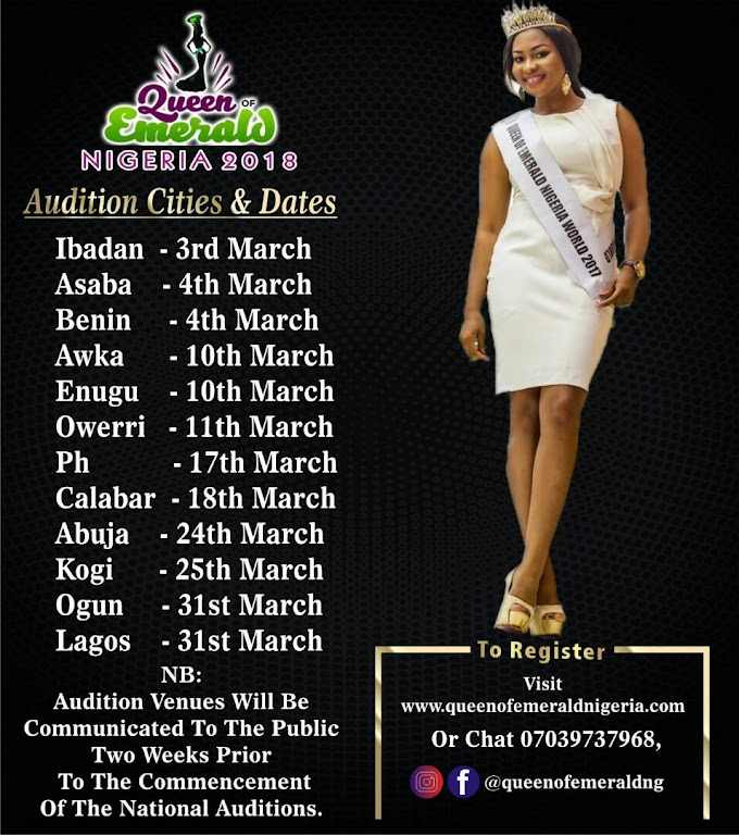 Queen of Emerald Nigeria Pageant organisers Release its 2018 Edition Audition Cities & Dates.