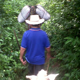 Riding the mules up to the site