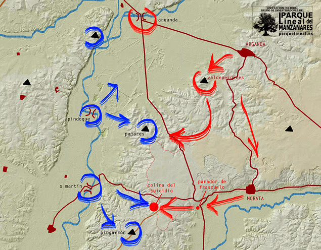 Fase posterior de la Batalla del Jarama. Descubierta la dirección del ataque se produce la resistencia.