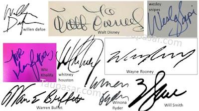 contoh tanda tangan huruf W