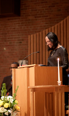 Theodora Smiley Lacey giving the keynote address as her son Clinton looks on.   PARAMUS  NJ 1/16/2012  MARTIN LUTHER KING BIRTHDAY CELEBRATION AT CENTRAL UNITERIAN CHURCH.     Photos by TOM HART.
