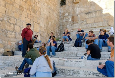 Gabriel Barkay teaching on southern Temple Mount steps, tb110906700