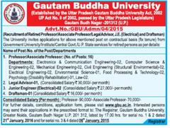 GBU Recruitment 2016 www.indgovtjobs.in