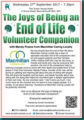 Joys of Being an End of Life Volunteer Companion 27 September 2017