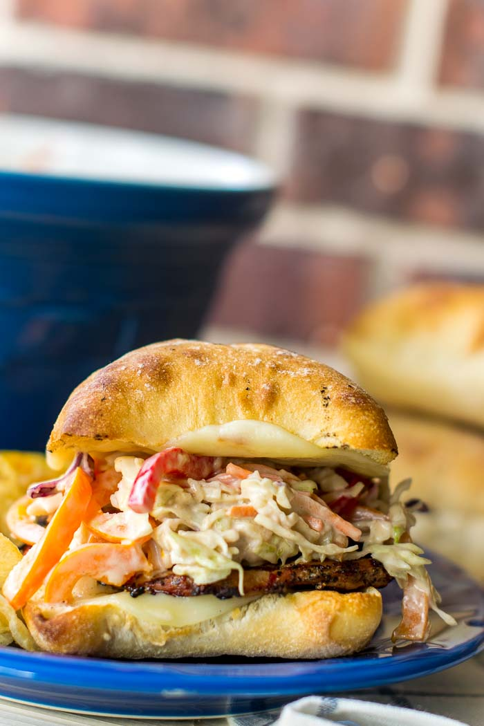 Let summer time grilling commence. Grilled Pork Tenderloin Sandwiches  featuring a Bell Pepper Coleslaw with Maple Balsamic Dressing! #ad #RealFlavorRealFast