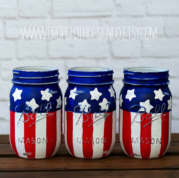 Red white blue american flag mason jars   Linda Braden