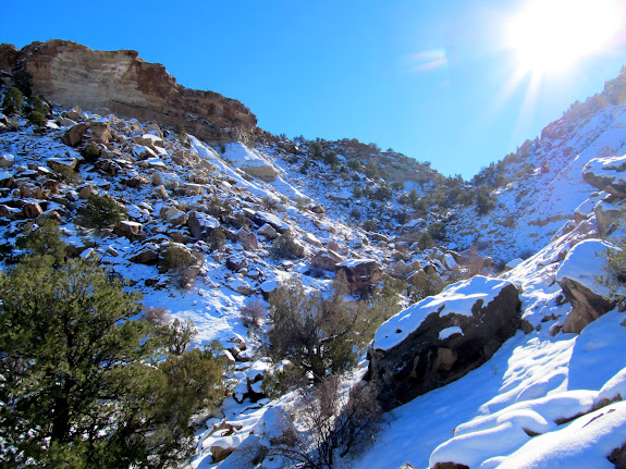 Bouldery drainage leading to the top of Calf Mesa