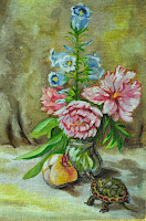 still life of peonies butterfly turtle