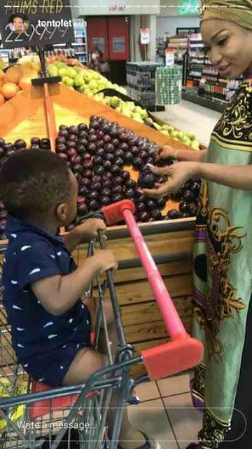 PHOTOS: Tonto Dikeh And Her Son Play Football