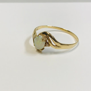 14K Gold and Opal Scarf Ring
