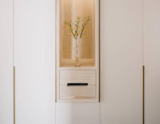 Căn hộ được thiết kế từ gỗ linh sam, một căn hộ tối giản, nhẹ nhàng