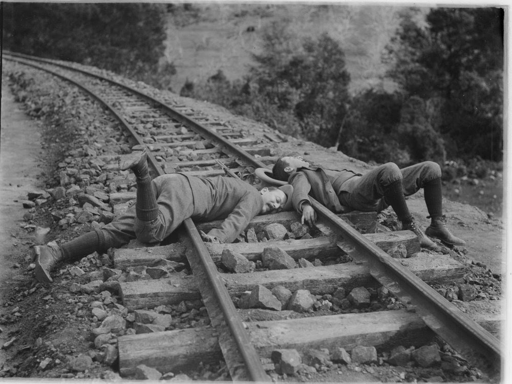 """""""The Accident"""" - Gembrook Railway [a joke] [picture] State Library of Victoria Photo Image H92.200/359 http://handle.slv.vic.gov.au/10381/22434"""