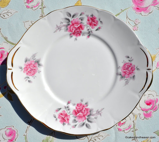 Duchess pale pink rose vintage cake plate