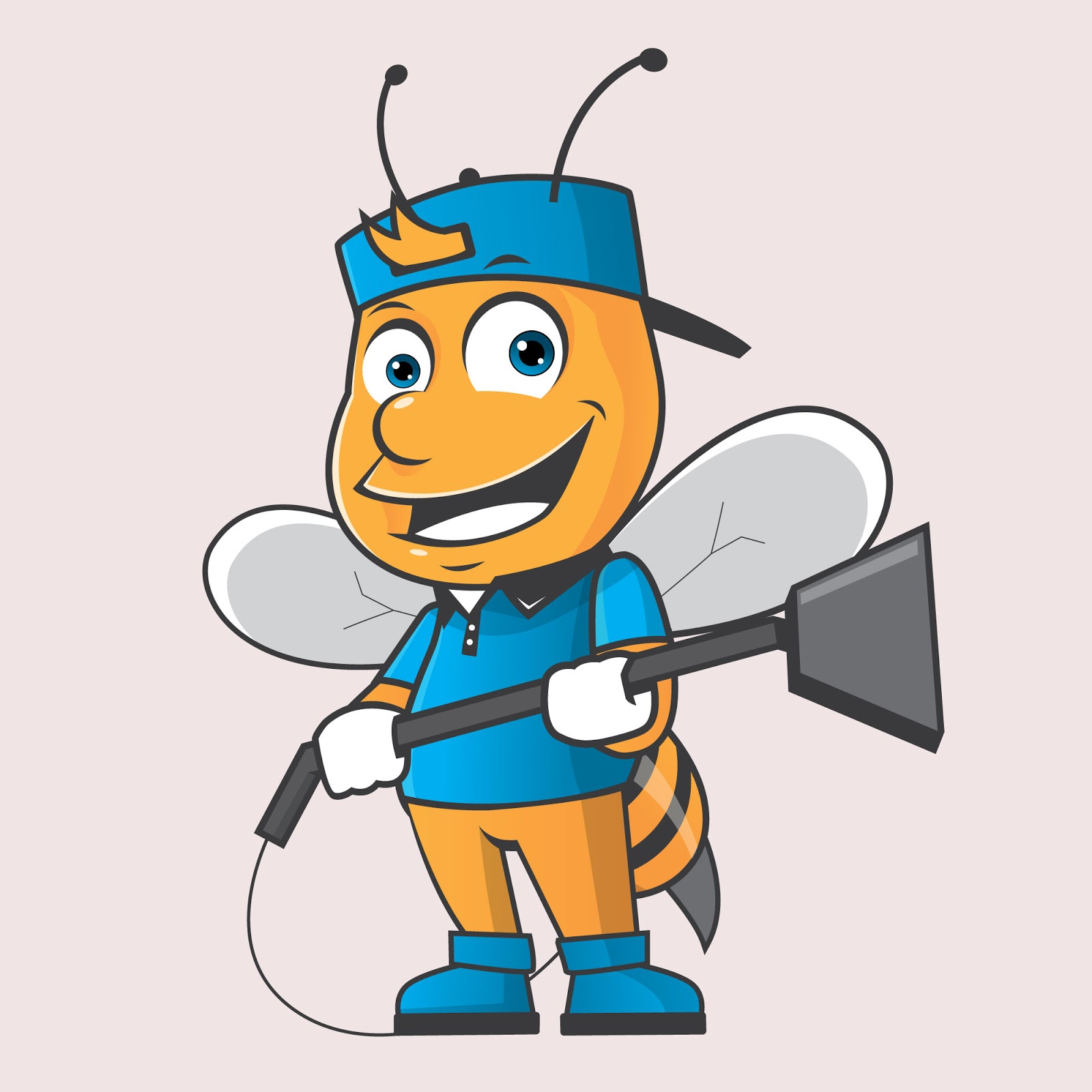 Bee Cleaning Mascot Logo Free Download Vector CDR, AI, EPS and PNG Formats