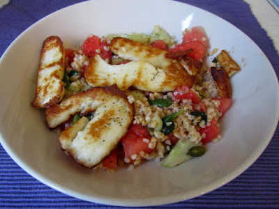 Watermelon, halloumi and bulgur salad