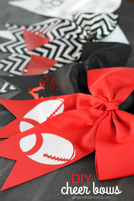 DIY Cheer Bows at GingerSnapCrafts.com #cheer #cheerbows #cricutmade #cricut