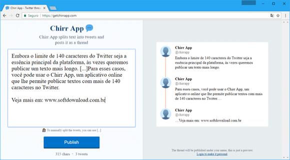 Escreva textos longos no Twitter com o Chirr App