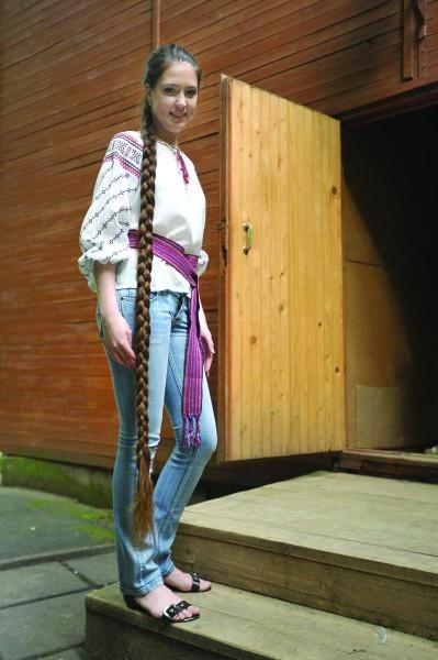 Ukrainian Rapunzel winner of a Long hair contest 2010. Her hair is 182 cm long