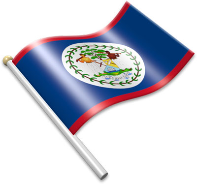 The Belizean flag on a flagpole clipart image