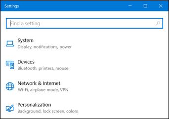 Existing Windows 10 Settings pages (www.kunal-chowdhury.com)