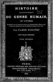 Cover of Fabre d'Olivet's Book Histoire Philosophique du Genre Humain (1910,in French)