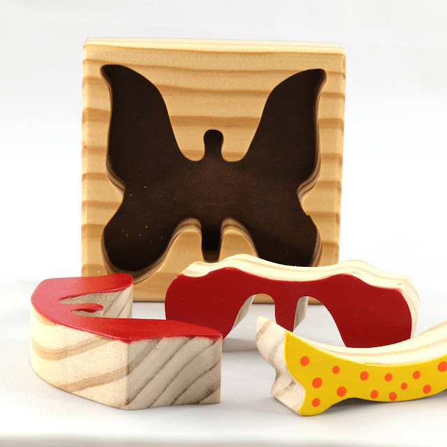 Handmade Wood Butterfly Toy Tray Puzzle in Red, Orange, and & Yellow