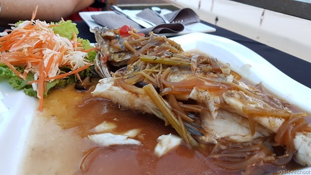 Steamed grouper with pepper and onion sauce.