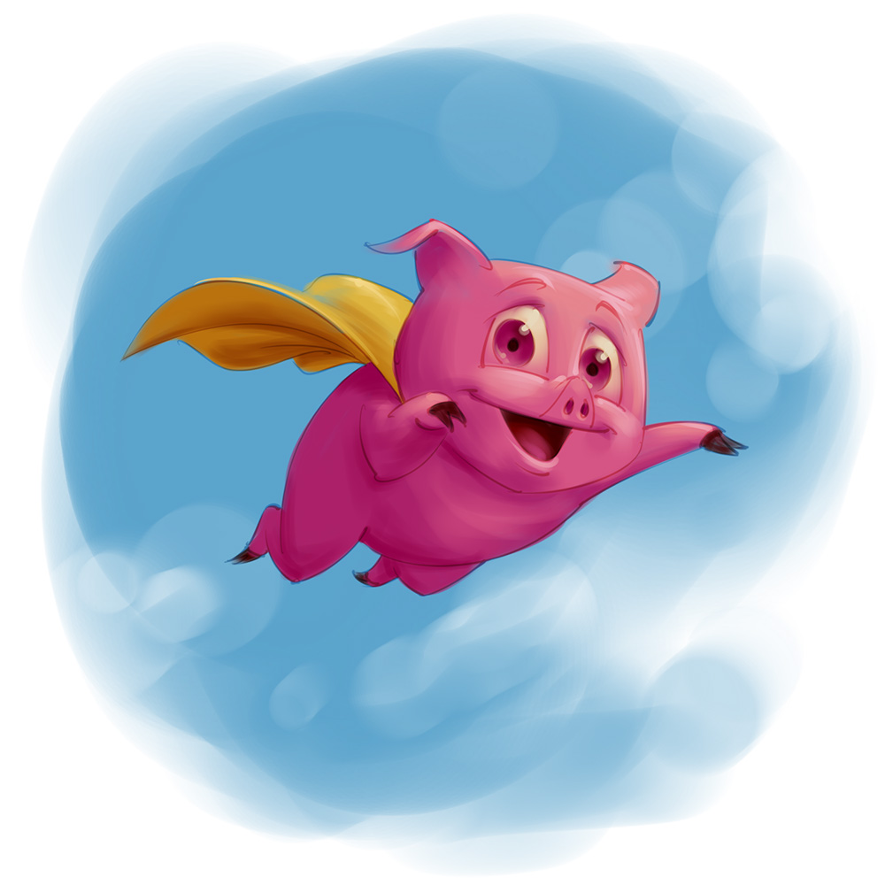 Flying pig superhero mascot design concept sketch