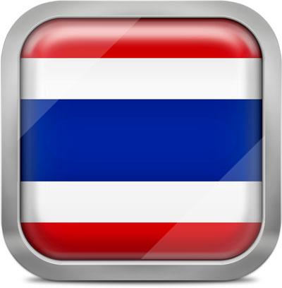 Thailand square flag with metallic frame
