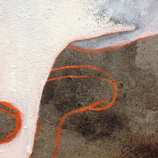 Detail of early stages of Shrooms 2015 oil on concrete on canvas. Artist Fiona Long