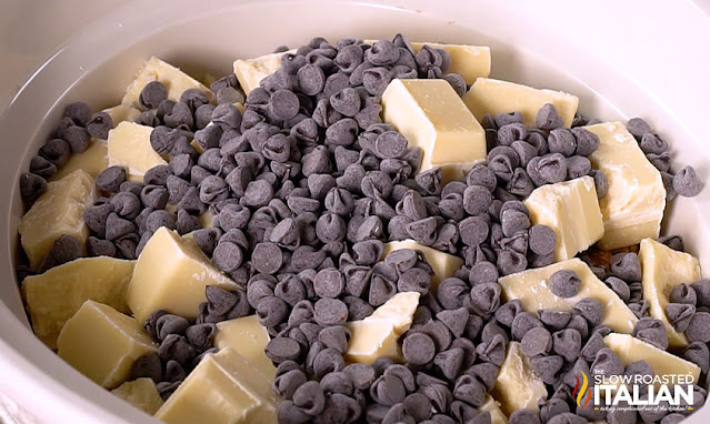 almond bark and chocolate chips in slow cooker