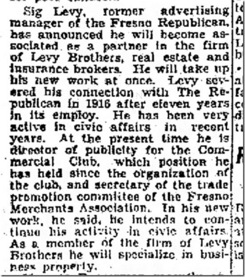 Twenty years ago Sig joins Levy Brothers Fresno Bee 1_8_1937