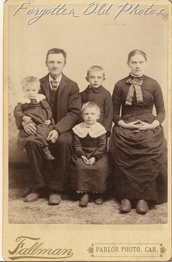 Cabinet Card Family with three boys DL Antiques