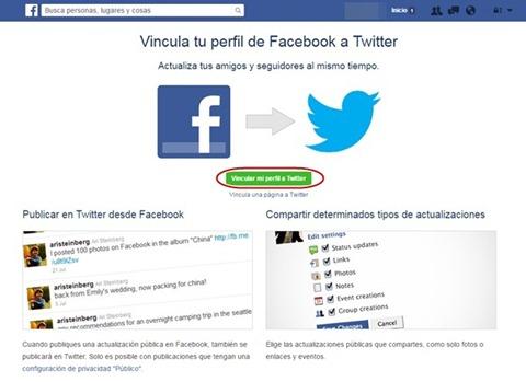 Vincular Facebook con Twitter