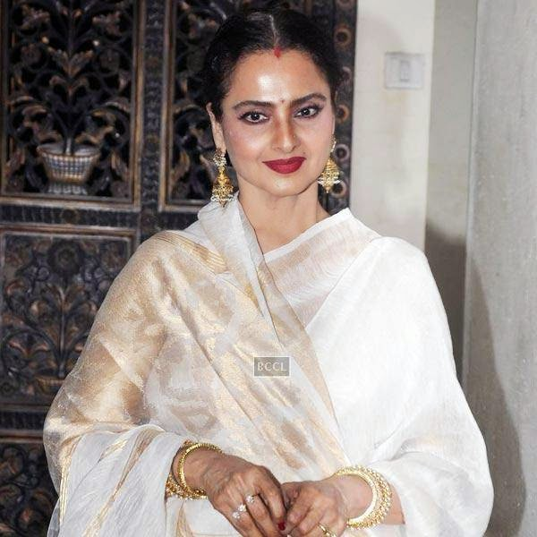 Rekha at the wrap-party of Bollywood movie Mary Kom, held at Sanjay Leela Bhansali's residence on July 26, 2014.(Pic: Viral Bhayani)
