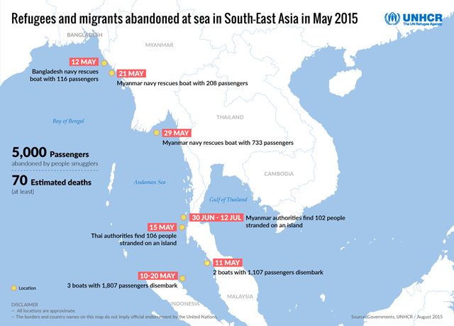 Map of refugees and migrants abandoned at sea in Southeast Asia in May 2015. Graphic: UNHCR