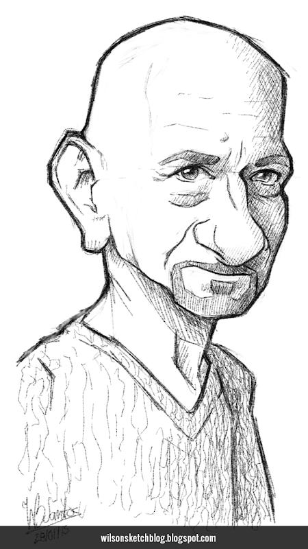 Caricature sketch of Ben Kingsley.