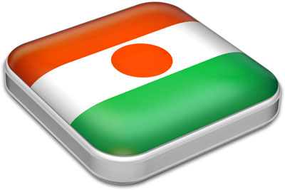 Flag of Niger with metallic square frame