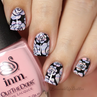 Inm out the door watermarble rose stamping