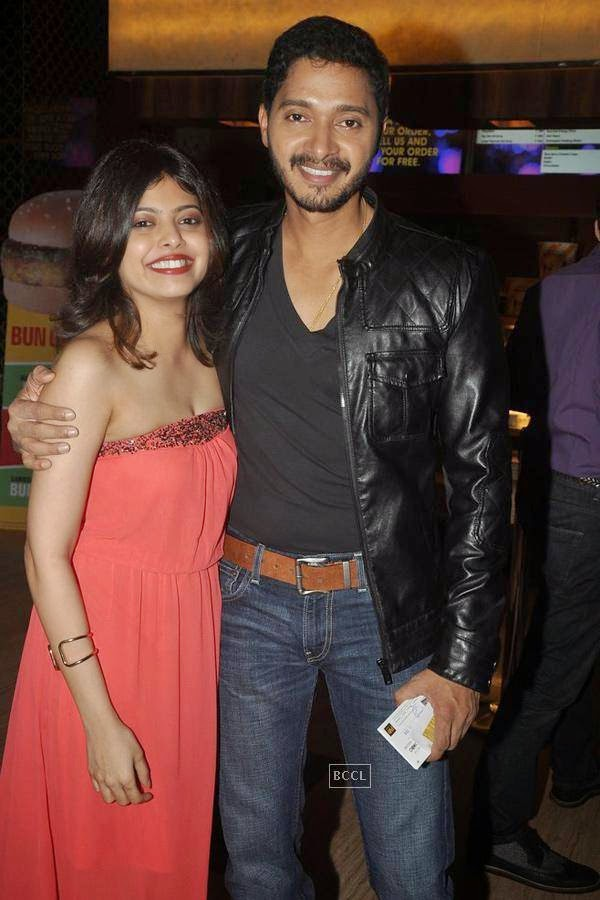 Shreyas Talpade with his wife Deepti Talpade during the screening of Poshter Boyz, in Mumbai, on July 30, 2014. (Pic: Viral Bhayani)