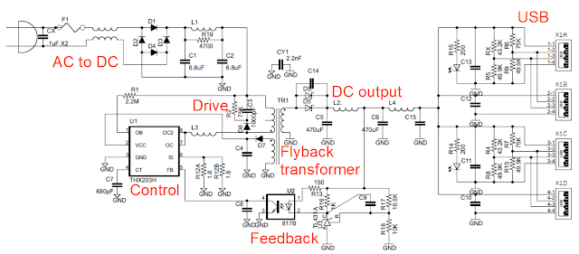 Annotated schematic of the KMS TC-09 USB charger.