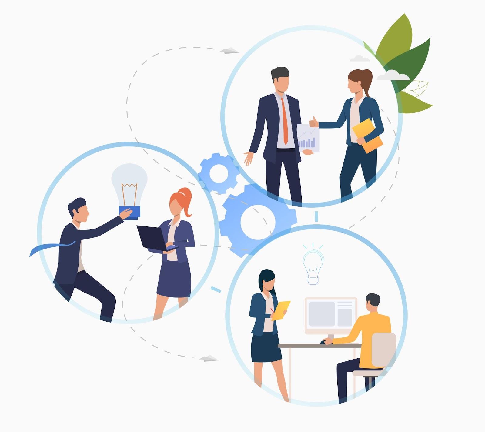 Imagem criada digitalmente com diversos círculos, nos quais pessoas vetorizadas realizam atividades de trabalho por meio das metodologias ágeis.
