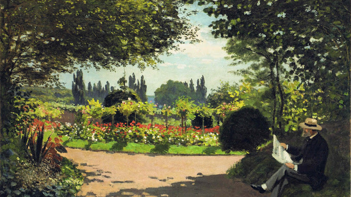 Image result for adolphe monet reading in the garden